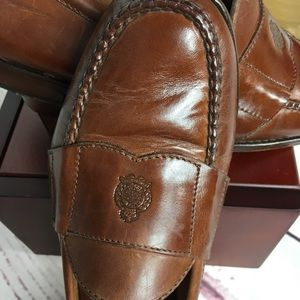 Polo Men's Brown Crest Logo Leather Loafers 11D